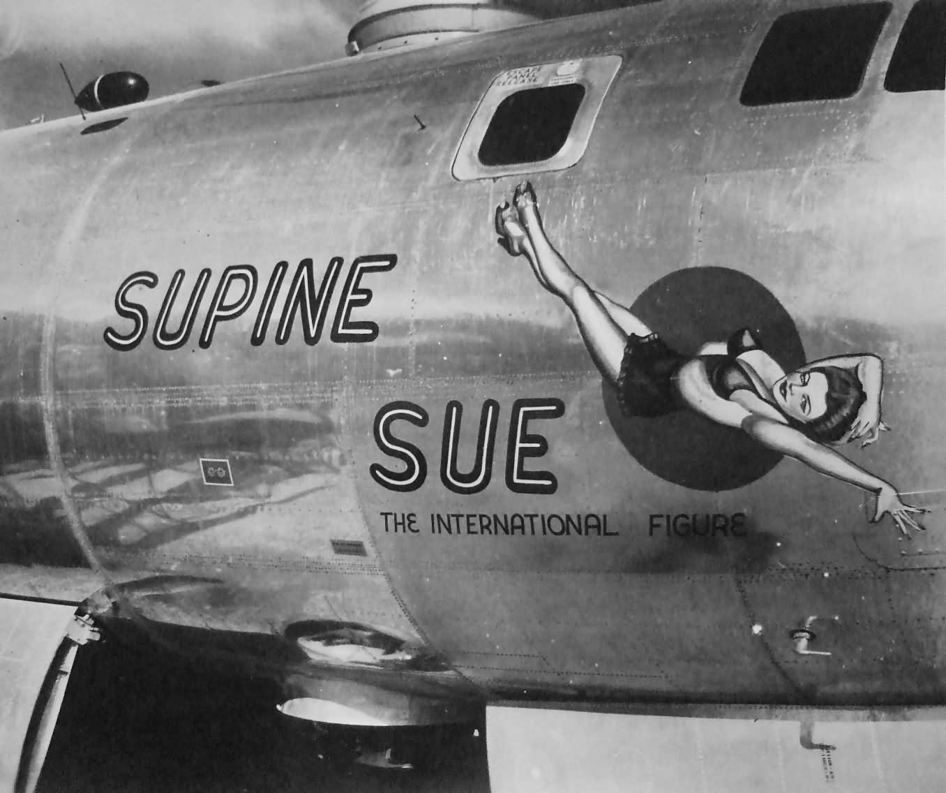 "B-29 Superfortress 42-24653 of 500th BG, 883rd BS, ""SUPINE SUE"" nose art Tinian 1945"
