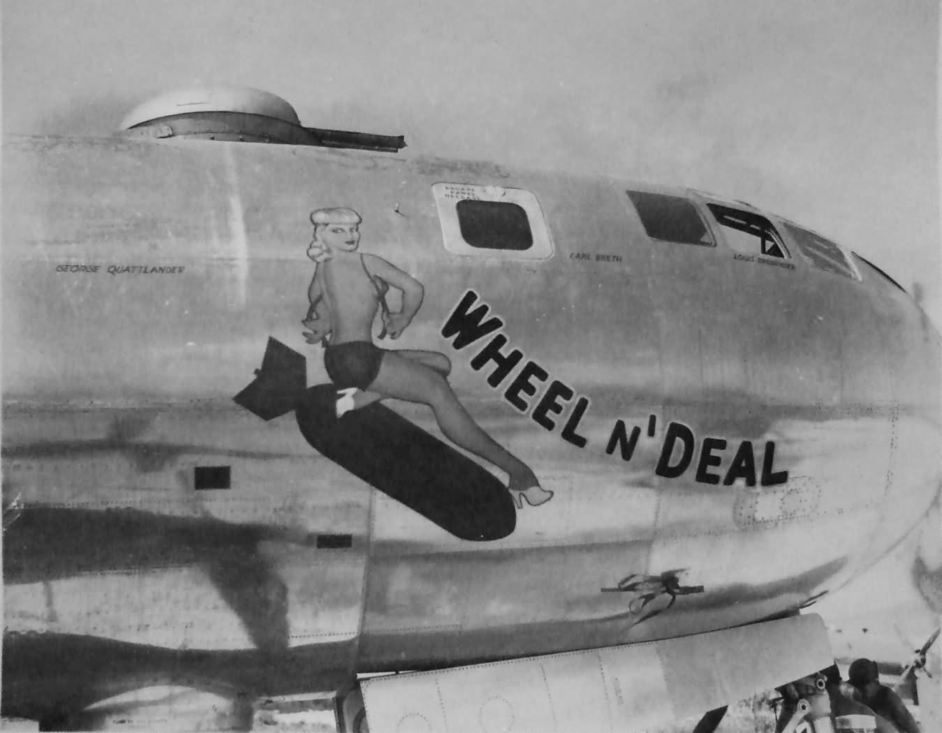 B-29 Superfortress WHEEL N' DEAL nose art 497th Bomb Group 870th Bomb Squadron