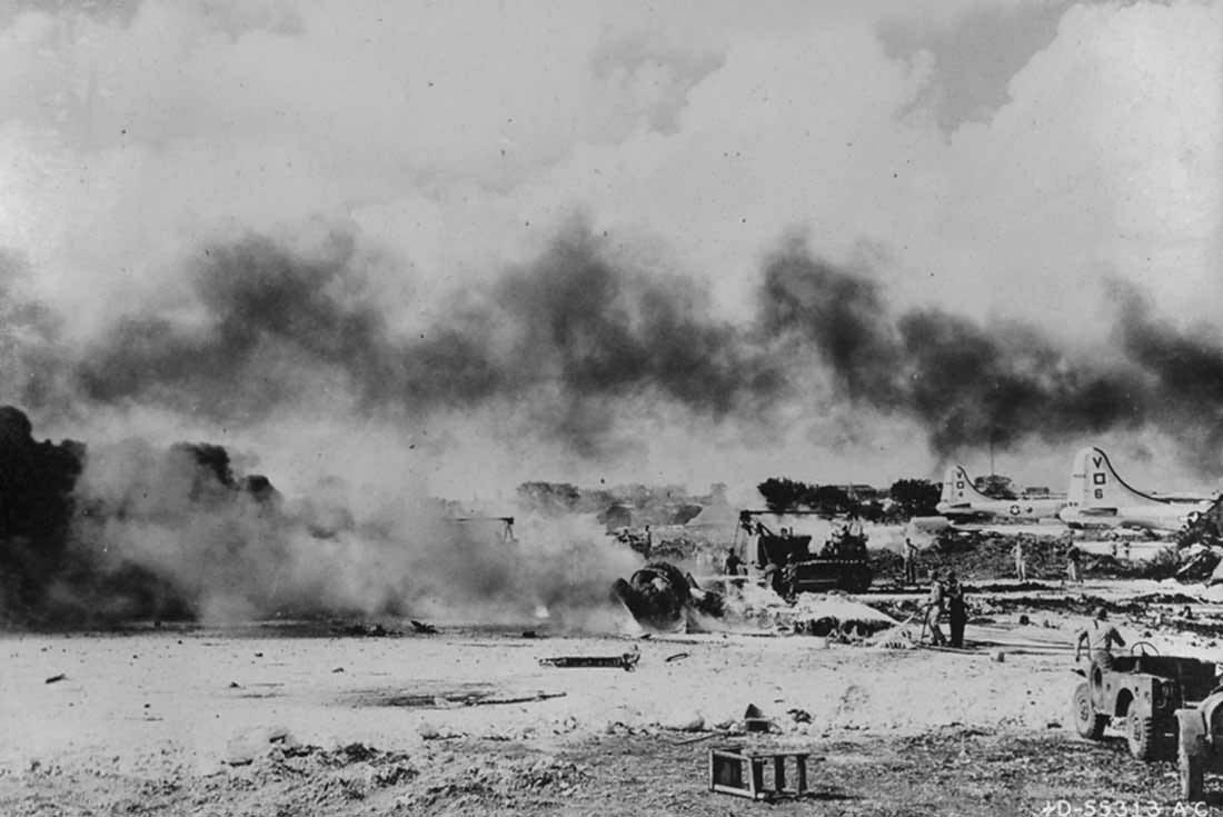 B-29 burning at Isley Field Japanese Strike Back On Saipan 27 November 1944