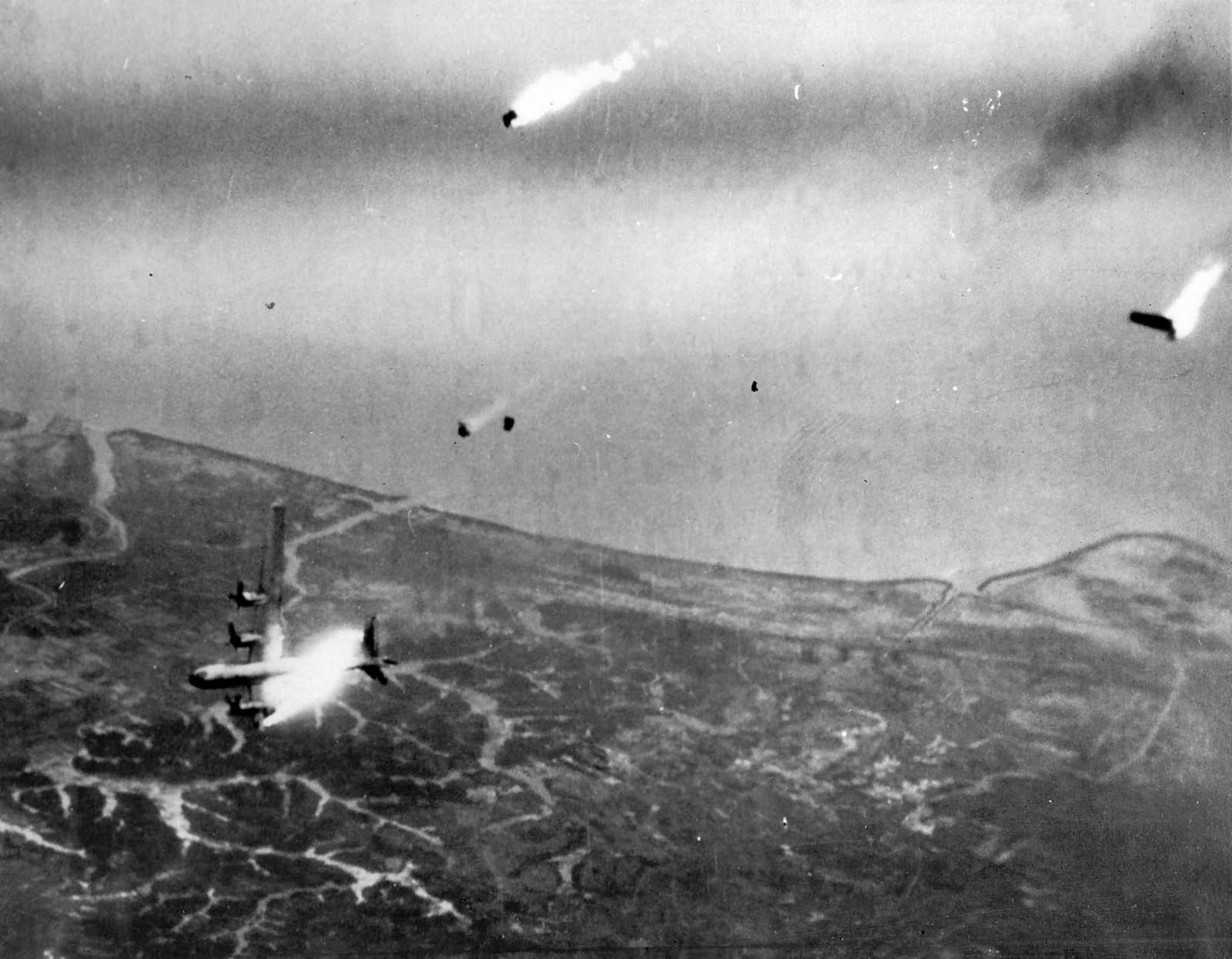 B-29 Superfortress goes down over Kyushu