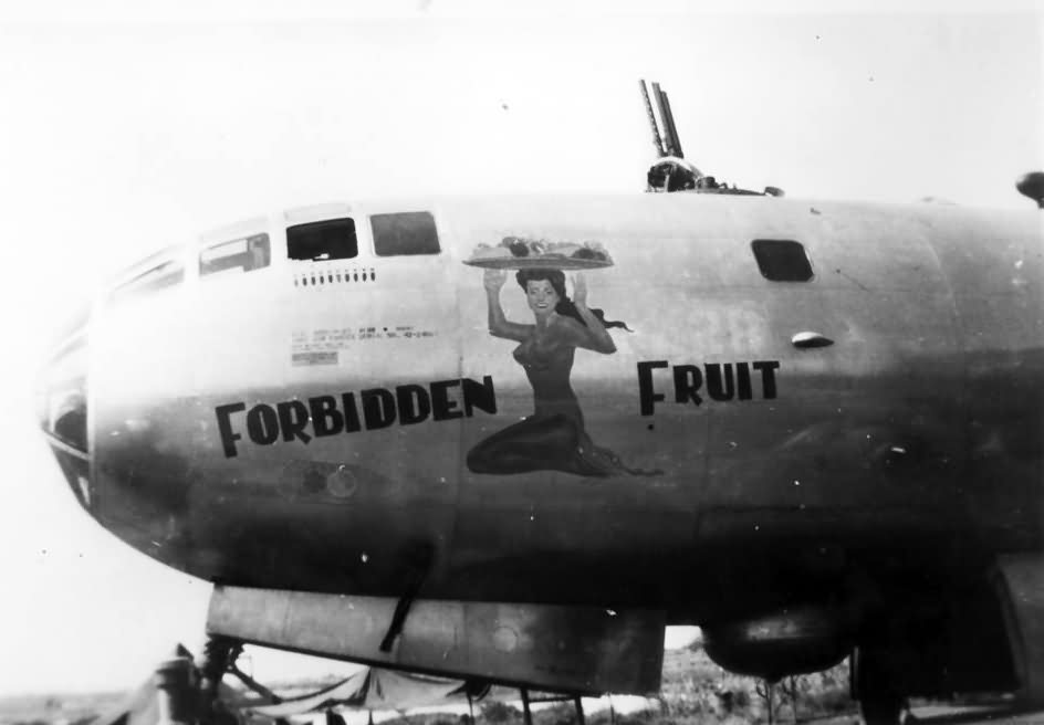 B-29 Superfortress 42-24607 of the 498th BG 875th BS, nose art Forbidden Fruit