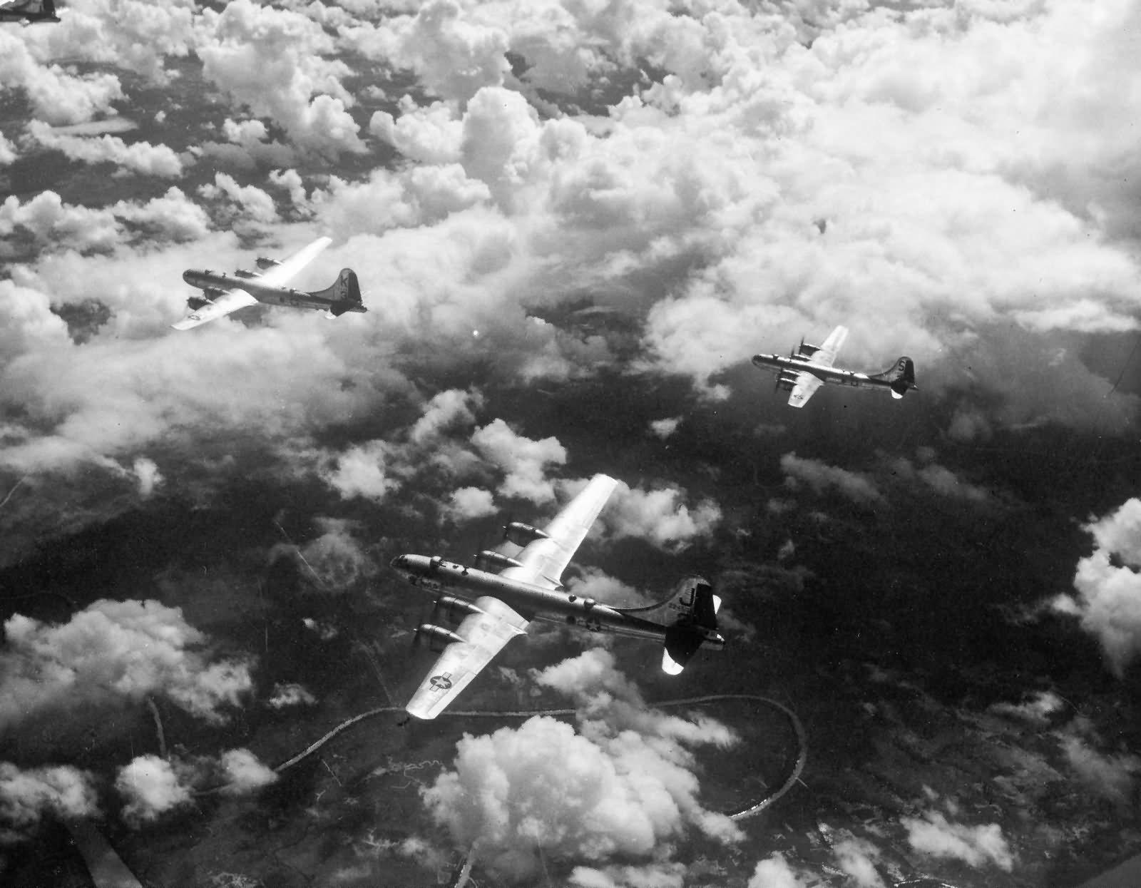 B-29 of 462nd en route home after hitting the Rangoon Burma docks on November 3 1944