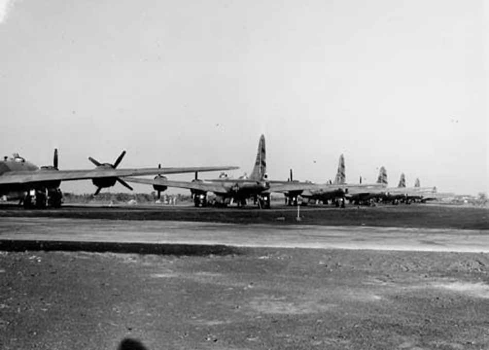 B-29 of 468th preparing to launch for Rangoon Burma from India 17 March 1945