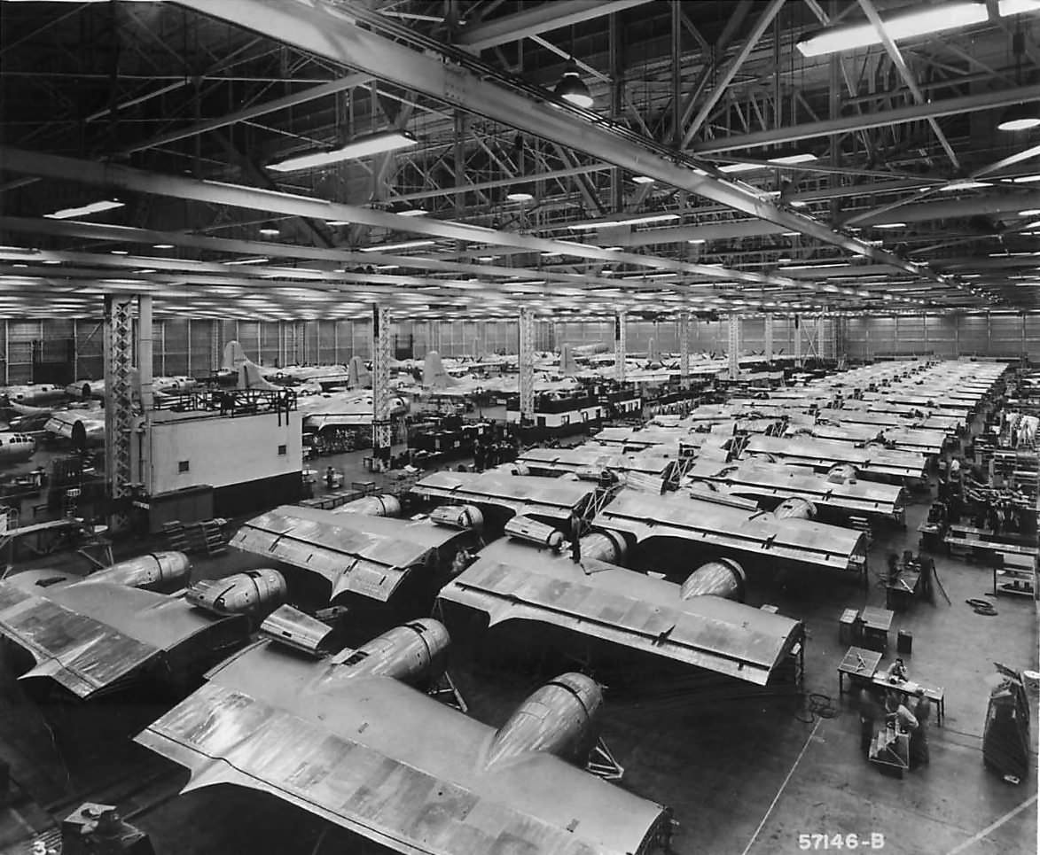 B-29 Superfortress on assembly line at Renton Plant