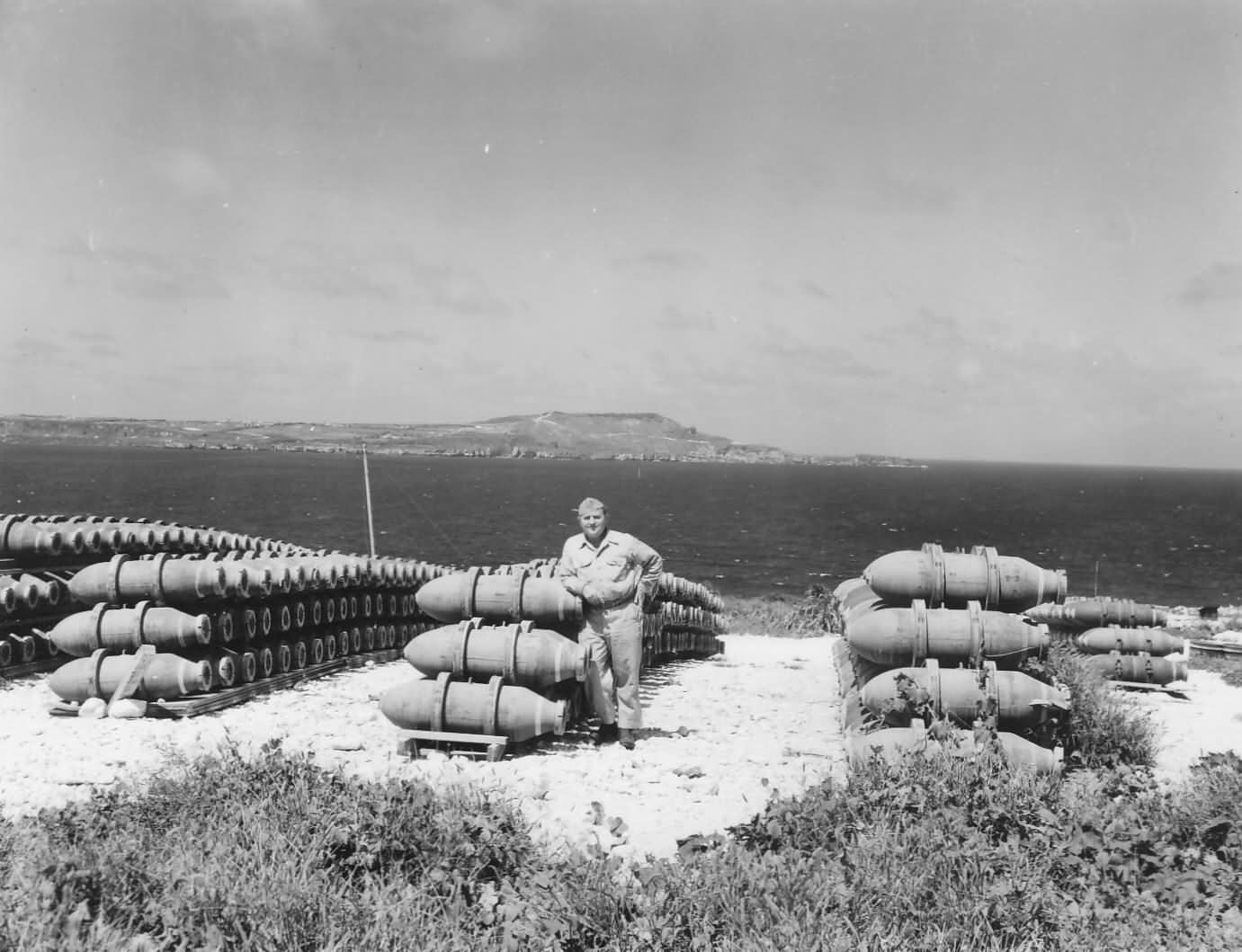 BOMBS STACKED for B-29 bombers