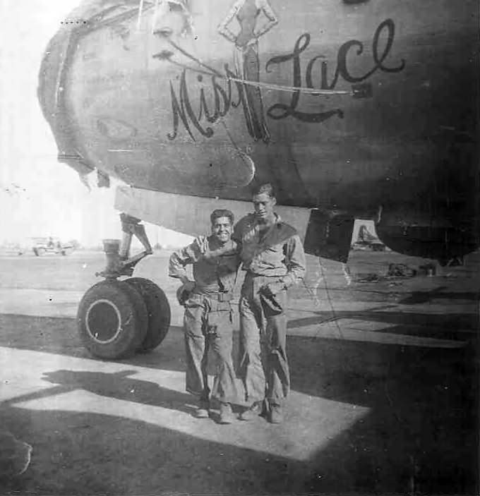 Boeing B-29 Superfortress bomber Miss Lace nose art