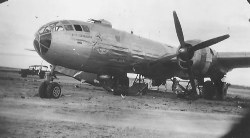 Boeing B-29 Superfortress damaged Tinian