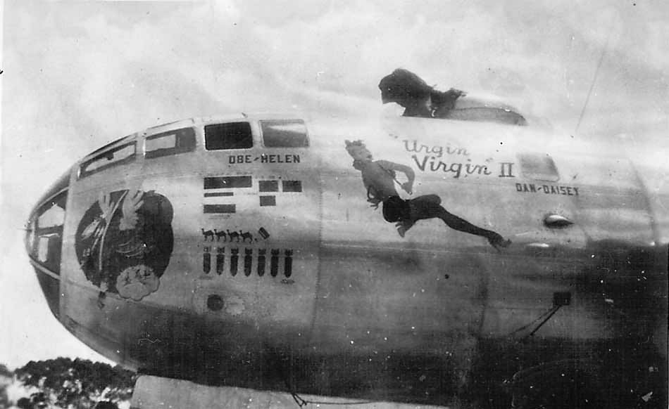 "Boeing B-29 bomber 42-93884 ""Urgin Virgin II"" nose art"