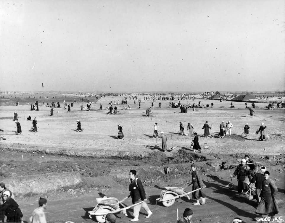 Building B-29 bases in China February 1944