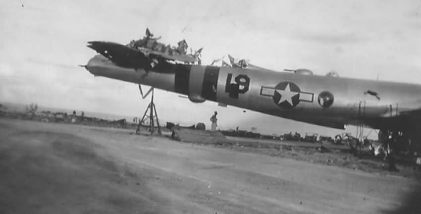 Damaged B-29 Superfortress on Tinian