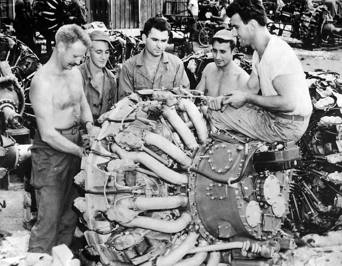 Mechanics work on B-29 Superfortress engine Wright R-3350