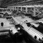 Boeing B-29 Superfortress on assembly line at Wichita Plant 1944