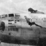 "Boeing B-29 bomber 42-93884 ""Urgin Virgin II"" nose art"