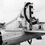 Damaged tail of 504th BG, 24th BS B-29 #4 on Tinian, 1945