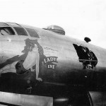 "Flak Damaged B-29 Superfortress 42-65211 from 498 BG, 875 BS – ""Lady Eve"" nose art January 1945"