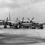 B-32 Dominator 42-108543 of the 312th Bomb Group refueling Yontan airfield Okinawa