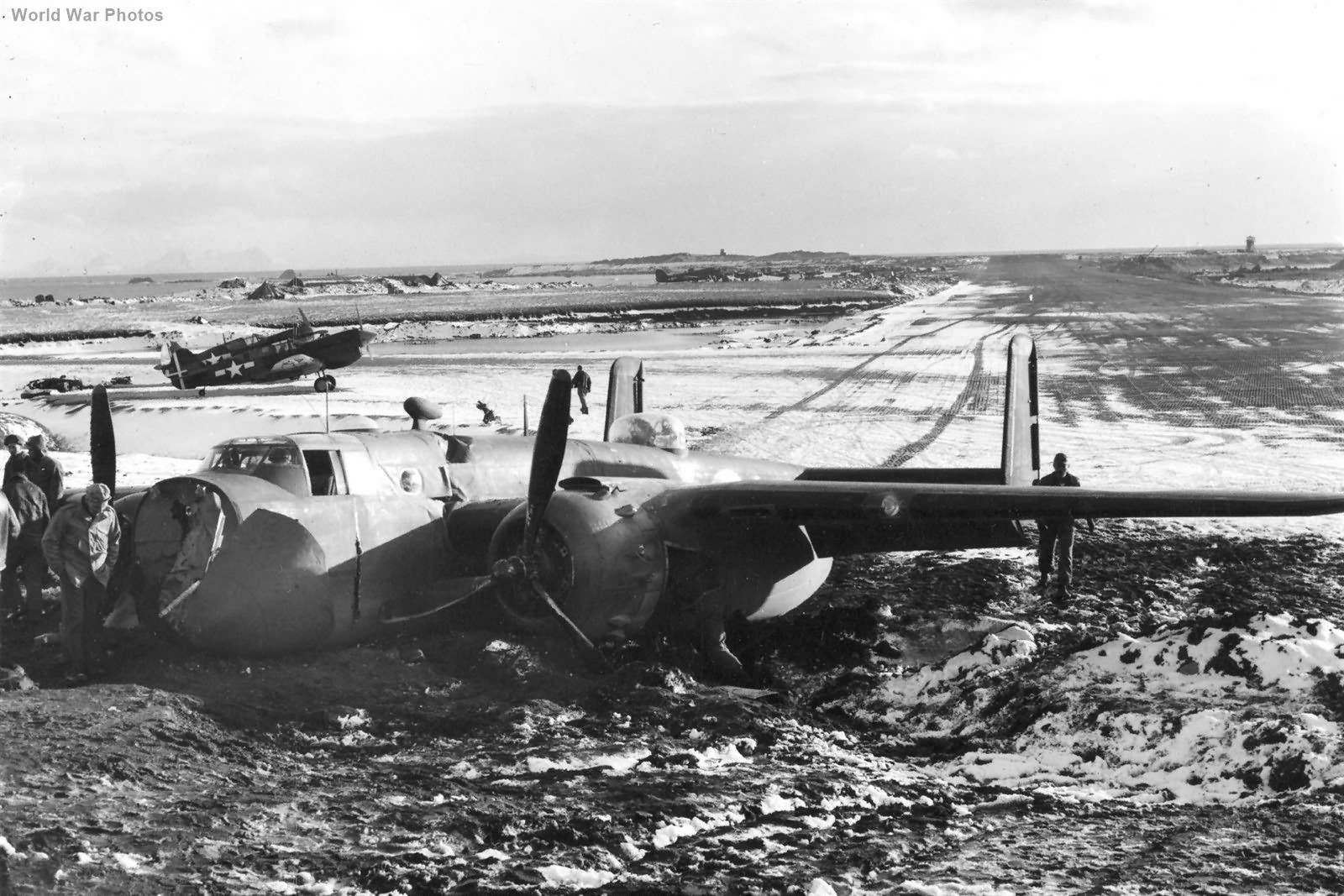 Crash B-25 of the 28th Bomb Squadron on Attu 13 November 1943