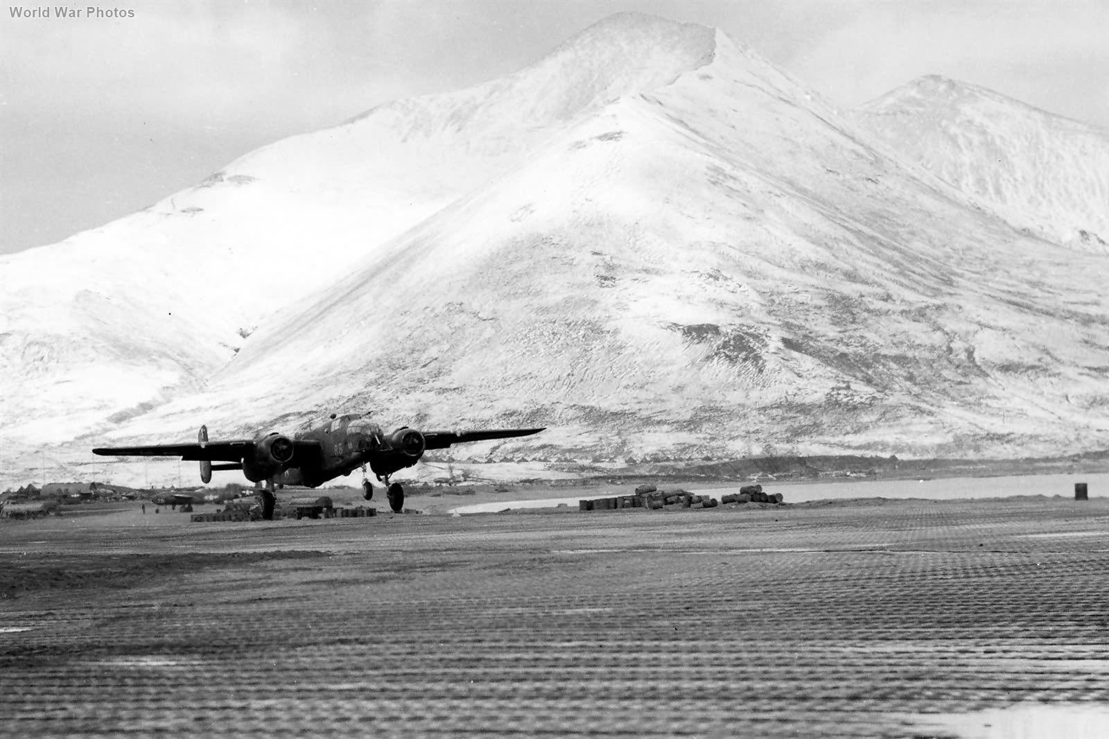28th Bomb Squadron B-25 takeoff at Alexai Point Attu 1943