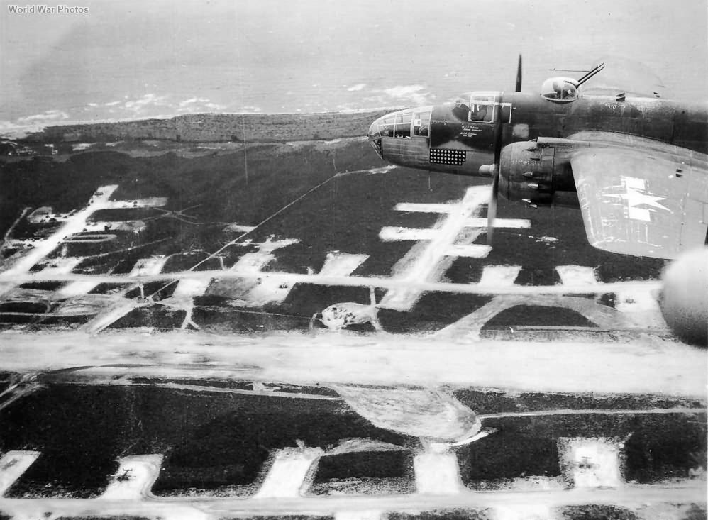 B-25 43-27791 448th BS 321st BG flying over Solenzara airfield