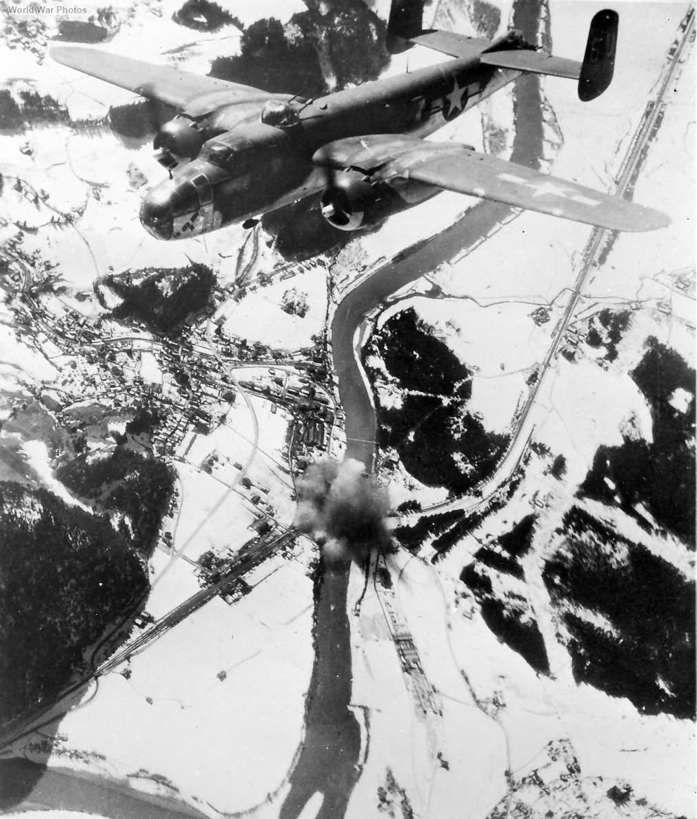 B-25 of 12th AF bomb bridge near Munich