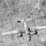 B-25 leaving burning target below