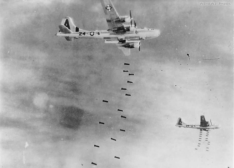 B-29 of the 497th BG dropping bombs on Japan