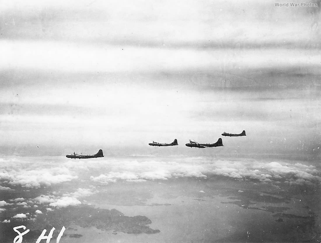 Aerial View of B-29 Bombers