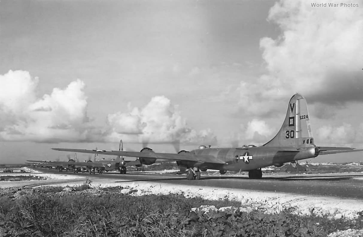 B-29 of the 499th BG, 878th BS take off from Isely Field Saipan 1945