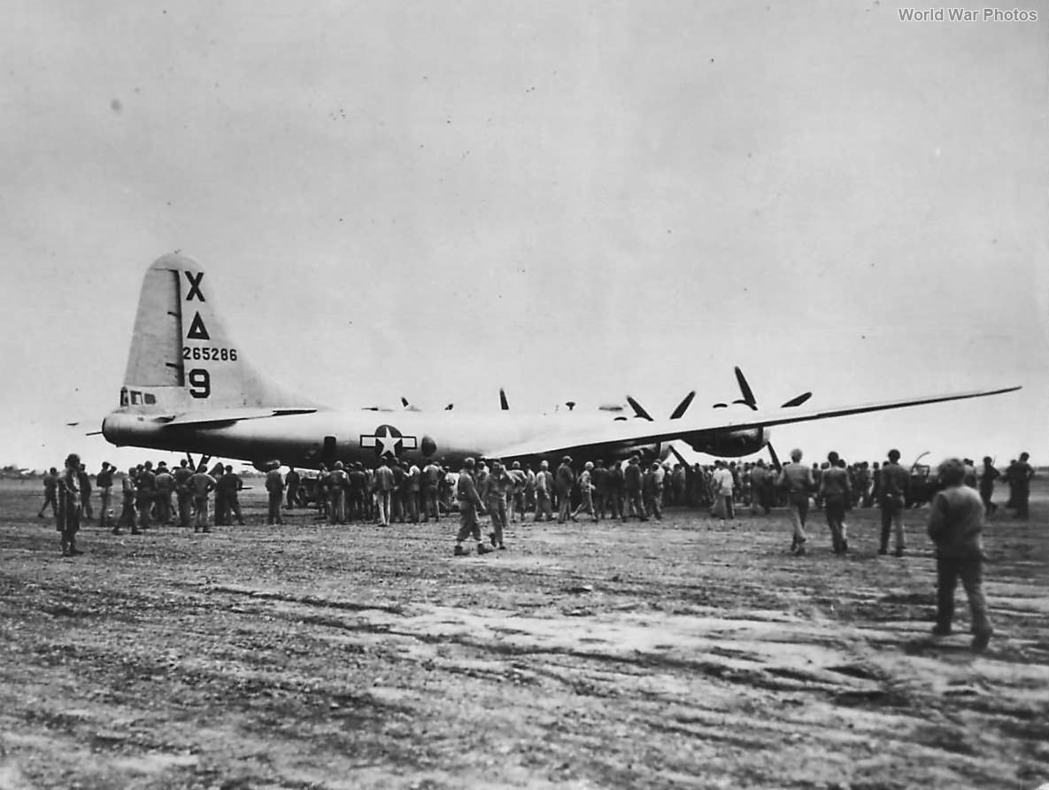 "B-29 ""Dinah Might"" of the 9th BG after emergency landing at Motoyama"
