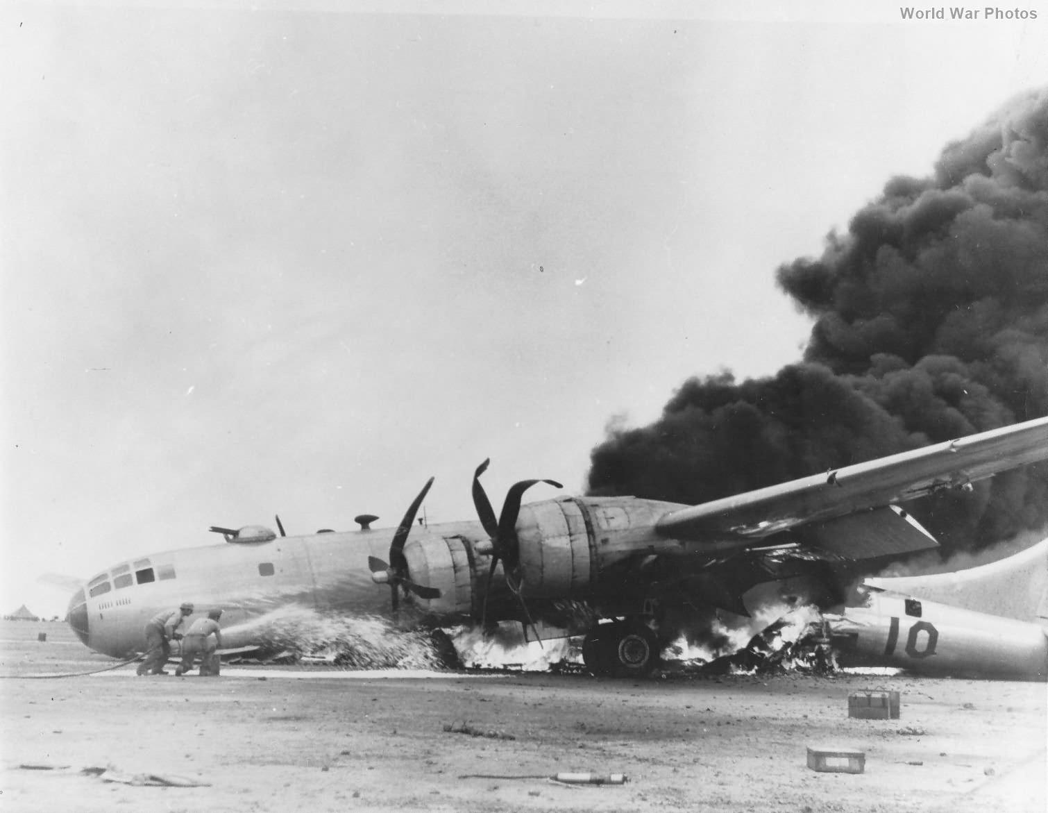 Burning B-29 Iwo Jima July 1945