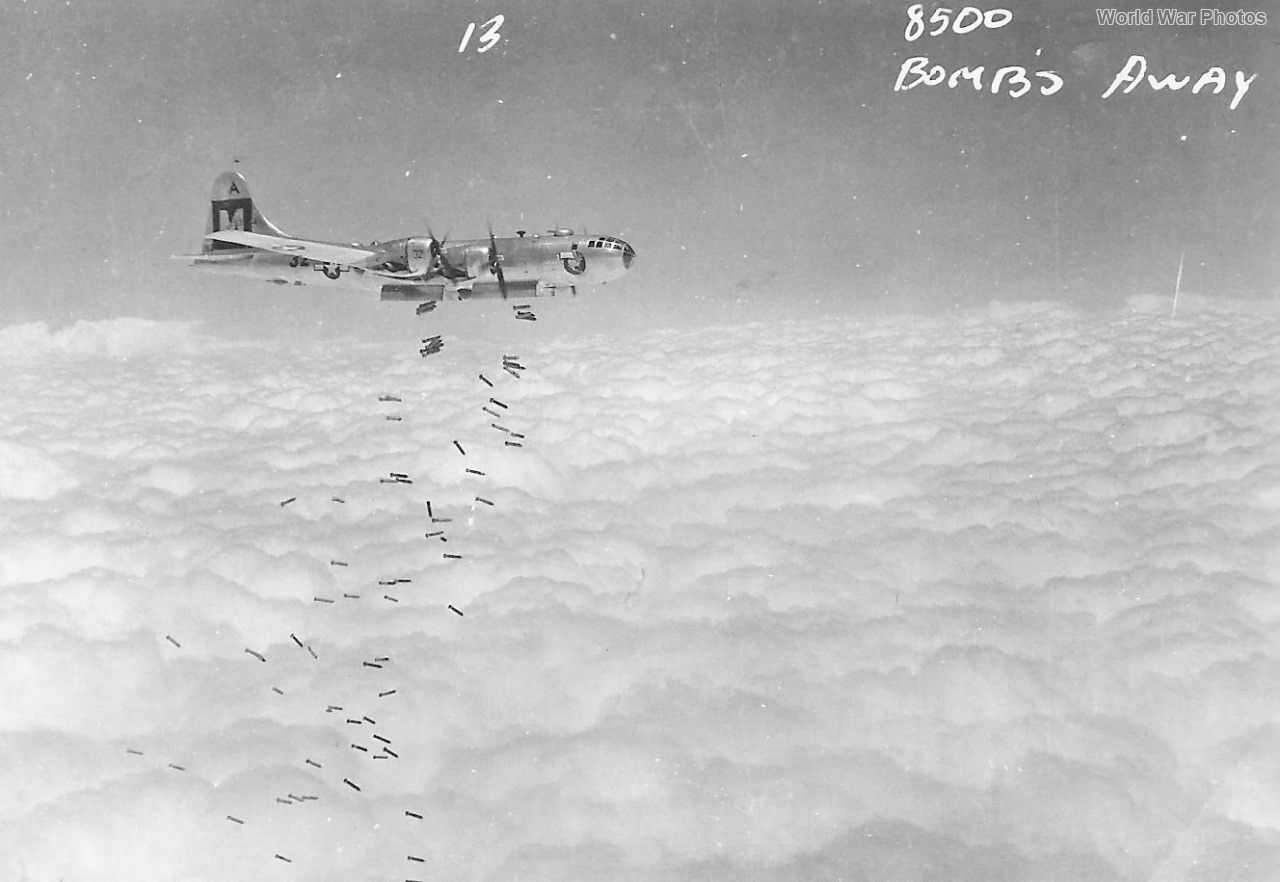 B-29 dropping bombs over Japan 1945