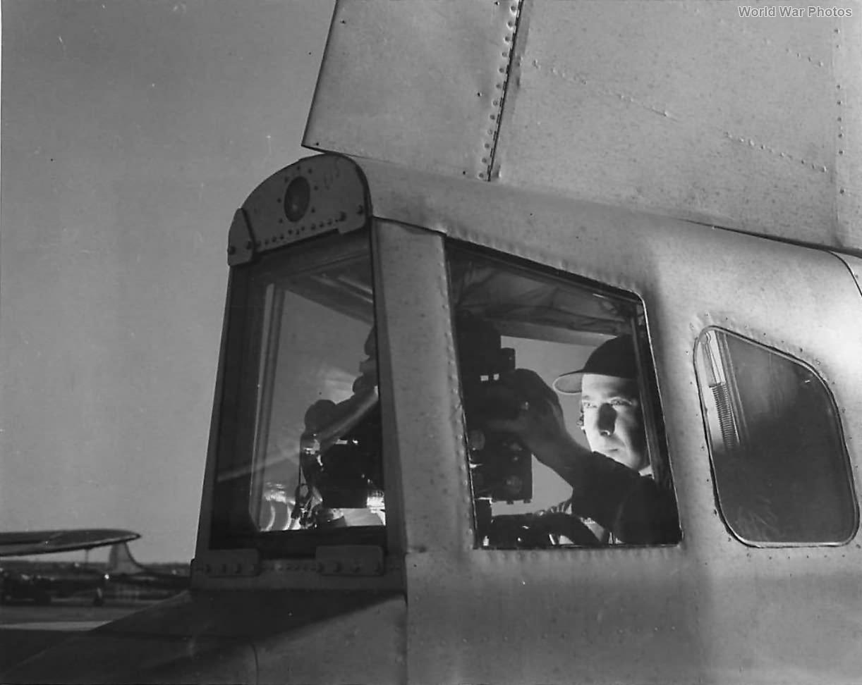 B-29 tail gunner with remote control gun sight