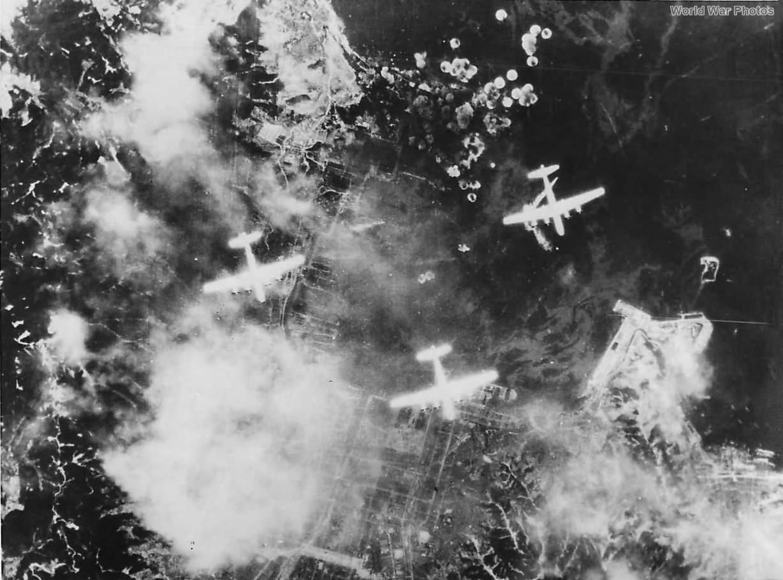 B-29s of 462nd BG Hellbirds bombing Kure Naval Base 1945