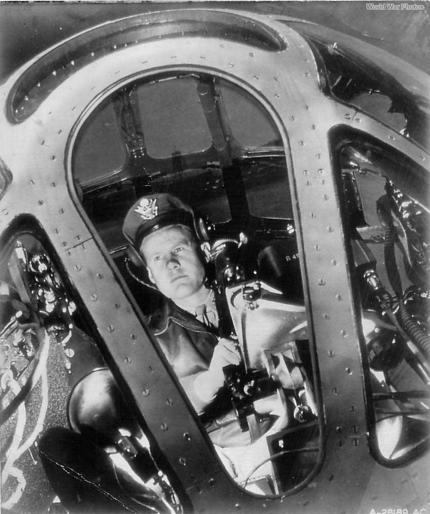 Bombardier amid Instruments in nose of B-29