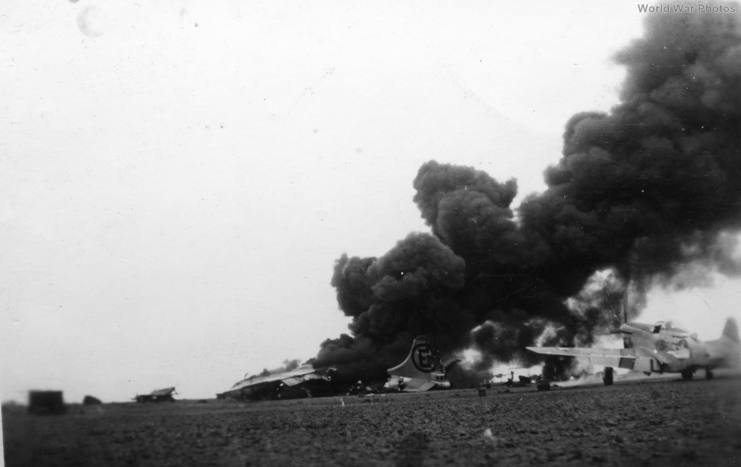 Burning B-29 Iwo Jima