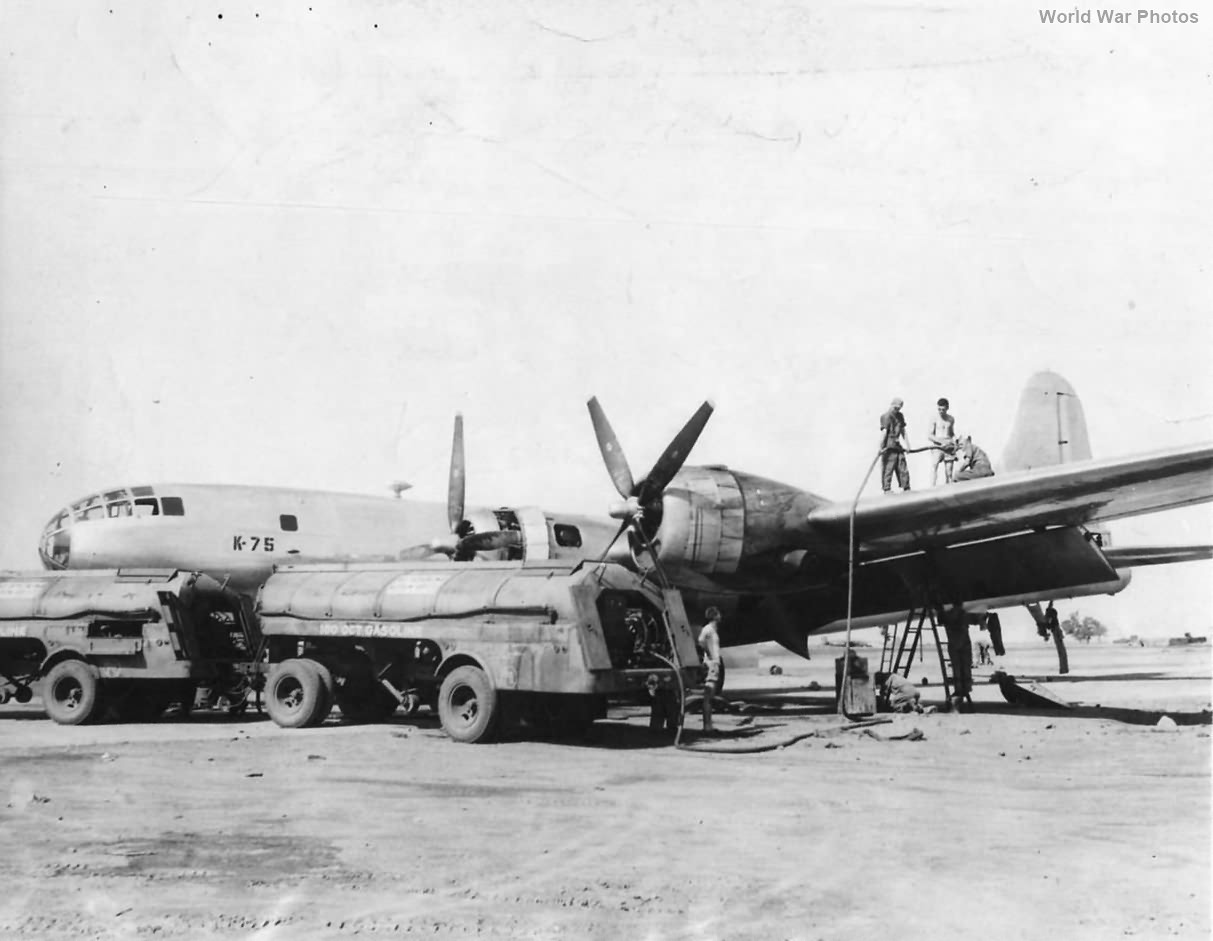 Crew gasses up B-29 in China for bombing of Yawata June 1944