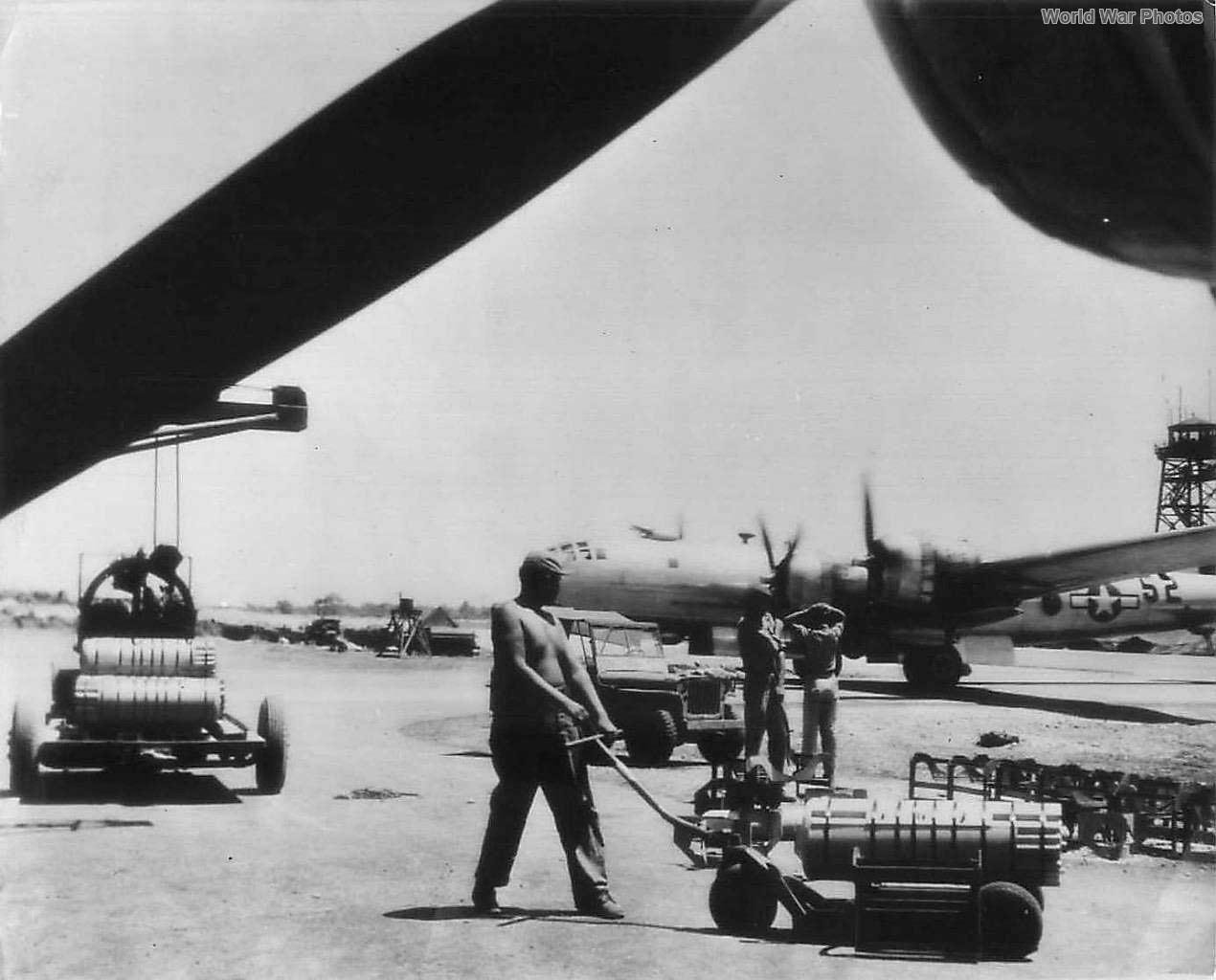 Crew loading M69 bombs on B-29s on Saipan '45