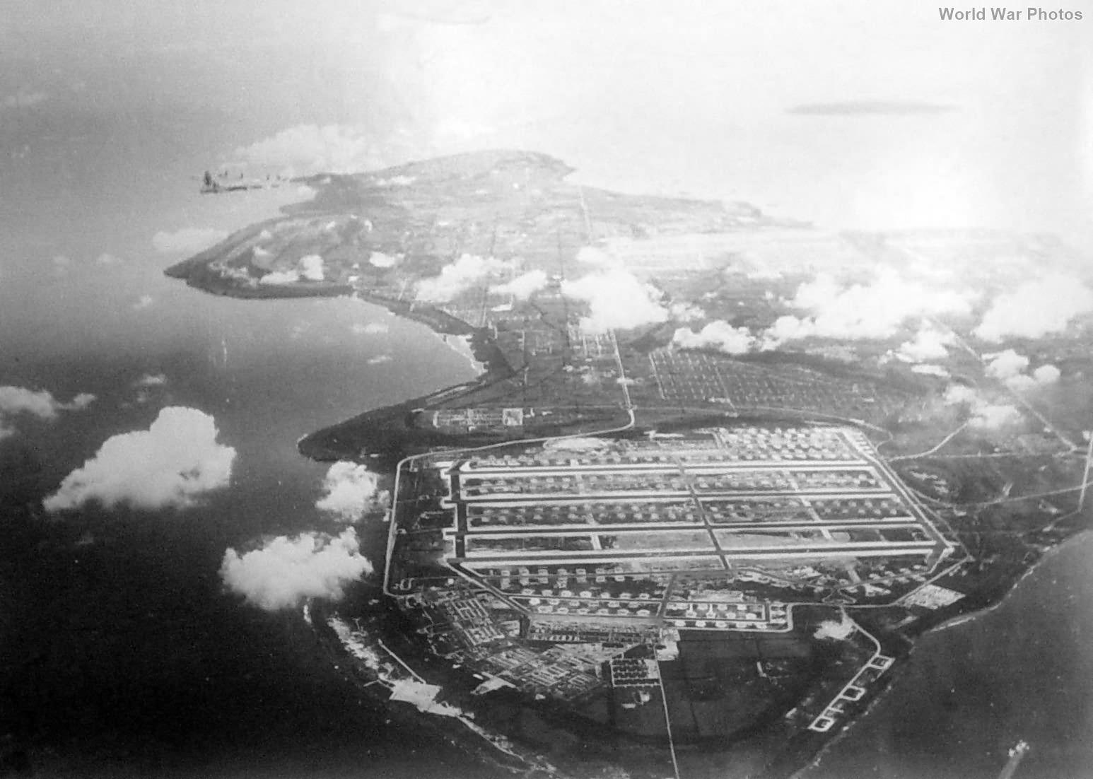 Lone B-29 over base at Tinian Island