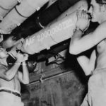"2,000,000th ton of explosives loaded on B-29 ""Goin Jessie"""