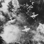 B-29s of 462nd BG Hellbirds bombing Kure Naval Base 1945