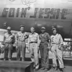 "Ground crew poses beside B-29 ""Goin' Jessie"" 42-24856"