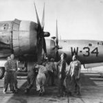 Ground crew turning over B-29 propellers at Roswell 1945