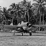 F4F-4 Wildcat of VMF-441 taxis at the airfield on Nanumea in the Ellice Islands in September 1943