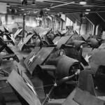 F4F-4 Wildcats packed on the hangar deck of the USS Charger AVG-30 – 2 October 1942