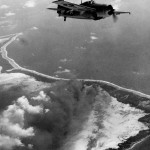 FM-1 Wildcat flown by Lt (jg) Knudson of VC-41 USS Corregidor CVE-58 over Makin Atoll, 20 November 1943