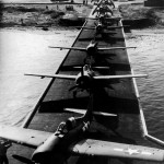FM-1 Wildcats and TBM-1 Avengers from VC-42 during loading on board USS Guadalcanal CVE-60 at NAS San Diego, 31 October 1943