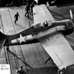 FM-2 Wildcat code 2 of VC-84 on the flight deck of the escort carrier USS Makin Island CVE-93 invasion of Luzon in the Philippines, 8 January 1945
