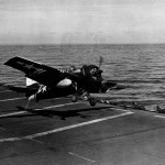 FM-2 Wildcat of VC-70 attempting to trap on the flight deck of the escort carrier USS Salamaua CVE-96 – 7 September 1945