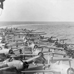 Martlets Mk IV Fairey Barracudas and Seafires on the flight deck of the HMS Illustrious North Sea July 1943