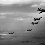 Formation of F4F-4 Wildcats of VF-24 in flight NAS Floyd Bennett Field New York – 28 April 1943